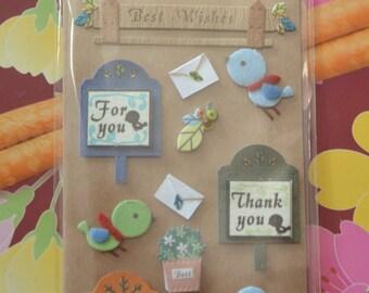 Handmade Paper Stickers- Best Wishes