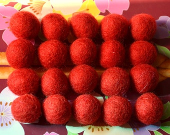 20pcs Red Wool Felt Balls (1cm, 1.5cm, or 2cm)