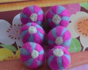 6pcs Needle Felted Flower Felt Balls