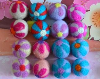 16pcs Mulitcolors Needle Felted Flower Felt Balls