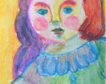 Original ACEO Watercolor Painting- Doll
