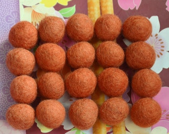 20pcs Pumpkin Wool Felt Balls (1cm, 1.5cm, or 2cm)