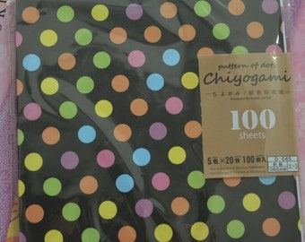 A Set of 100 Sheets Dots Patterns Japnaese Chiyogami Origami Papers