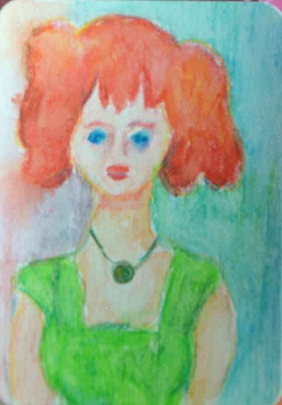 Original ACEO Watercolor Painting - Green Dress