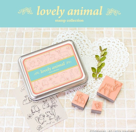 A Set of DIY Rubber Stamp -Lovely Animals
