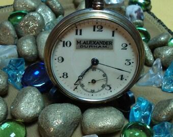 "Swiss ""M. ALEXANDAR DURGHAM""  pocket watches white dial rare 1930-1940 Perfect condition"