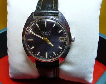 "USSR  ""POLJOT"" wrist watch 1960-70 Rare BIG case blue dial very very Good 17 jewels - working perfectly"