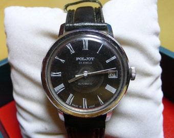 "Ussr (Soviet Union)  ""POLJOT"" (flight) Automatic 23 jewels wrist watch 1960  very rare black dial VERY Very good"
