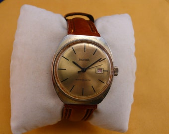"GDR (Germany) ""ROHAL""  wrist watch gold dial gold plated Ultra  rare 1950-1960 VERY good condition"