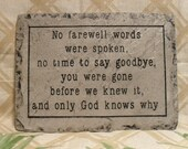 Memorial plaque / stone / concrete / yard / garden / home decor 8''x11''