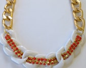 Chunky Statement Necklace chain link coral gold statement jewelry oversized HEAT WAVE