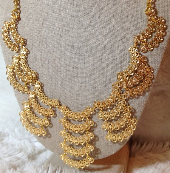 Gold Statement Necklace metal bib necklace tribal statement jewelry chain boho KASHMIR