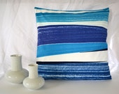 "Beautiful Marimekko Matkalla Maalee Fabric Pillow Cover with Zipper in Dusky Blues- size 18"" by 18"""