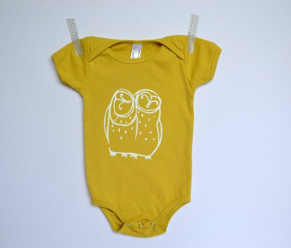 Organic Cotton Onesie Bodysuit Hand Printed with Owl Design - Americal Apparel - Dijon and White