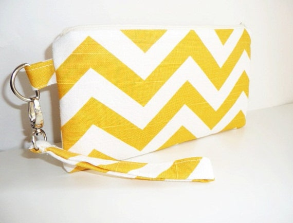 Designer Chevron Wristlet Clutch in Yellow and White with Zipper and Clasp