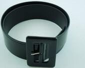SALE-Vintage Black Patent Leather Look Wide Belt-Size Medium