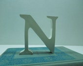 """Distressed White Letter N-FREE Shipping-Mini-Sized 4"""" Tall Wooden Letter-Cottage Chic Decor-Pottery Barn"""