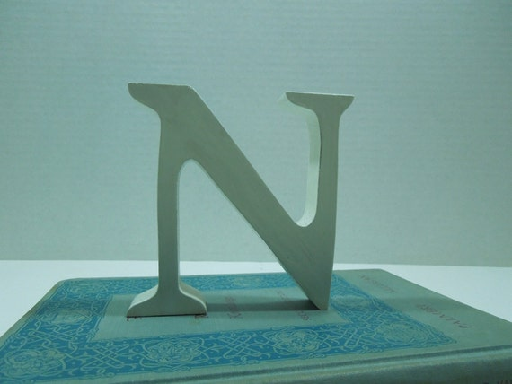"Distressed White Letter N-FREE Shipping-Mini-Sized 4"" Tall Wooden Letter-Cottage Chic Decor-Pottery Barn"