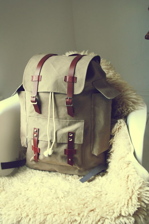 The Atlas Backpack - Sand Colored Canvas with Leather Straps and Metal Buckles