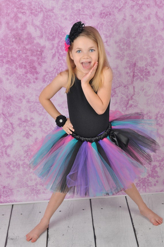 Rocker Tutu - Newborn to Adult Tutu - Turquoise Hot Pink Purple Black Tutu