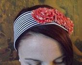 Eco-Friendly, Upcycled Headband, Vintage Fabric Rosettes. READY TO SHIP.