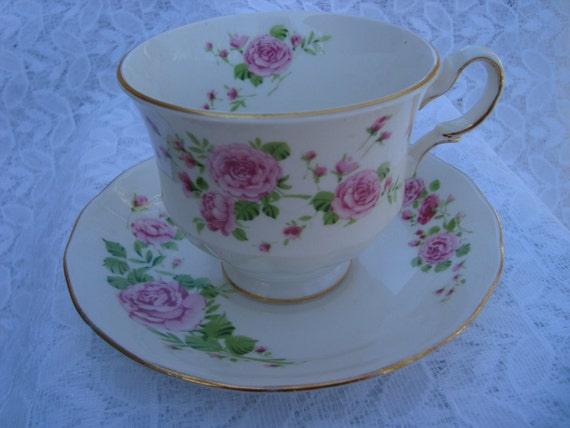 AVON Tea Cup Vintage 1974 Pink Roses Fine Bone China Tea Cup and Saucer