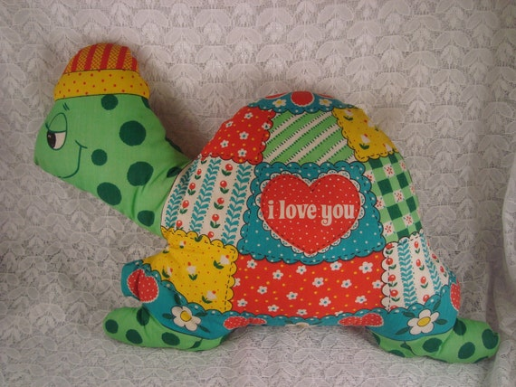 Plush Turtle Vintage Stuffed Animal Pillow Pet Turtle I Love You Handmade