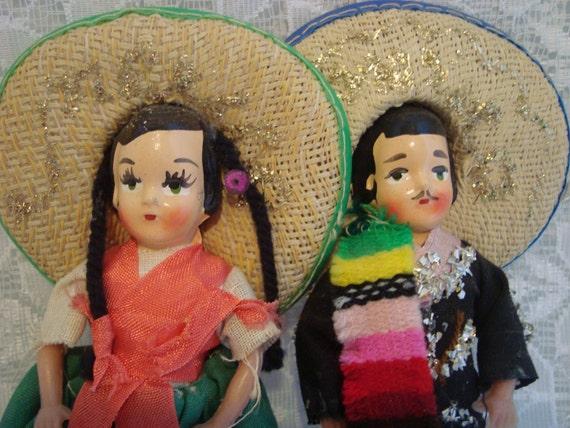 Mexican Doll Couple Vintage Hispanic Collectible Doll Set Mexico Souvenir