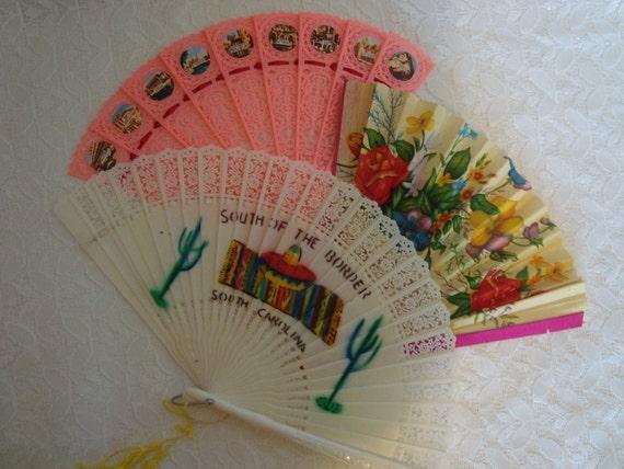 Souvenir Fans Vintage Plastic and Paper Souvenir Fans Set of 3