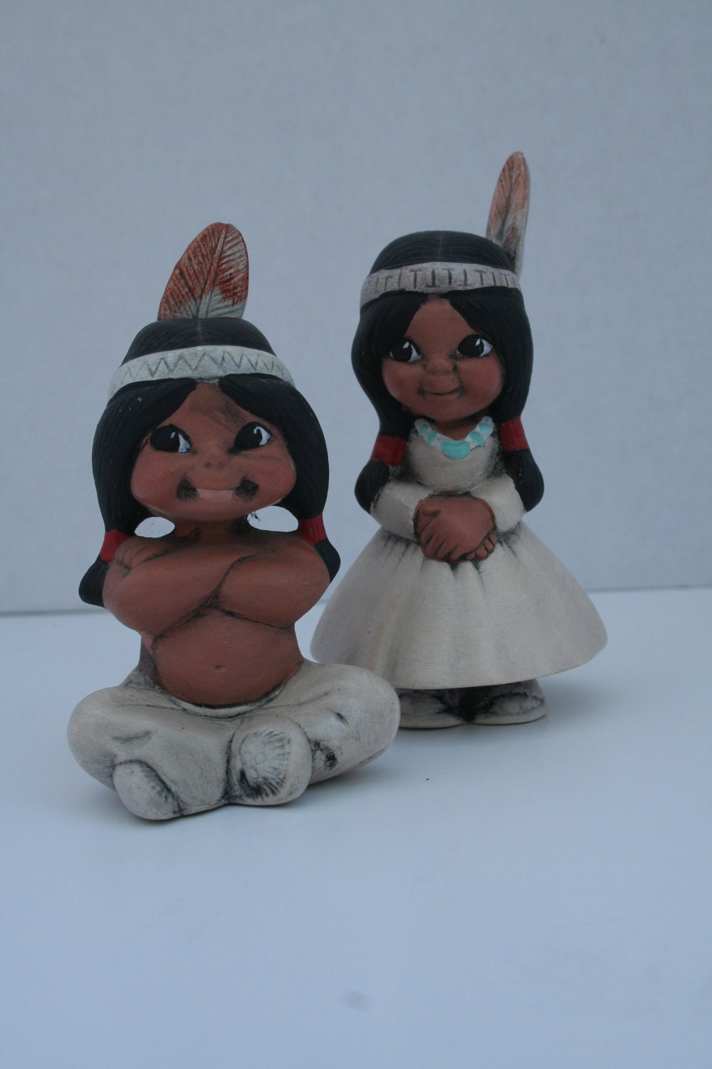native american indian figurine set thanksgiving vintage girl