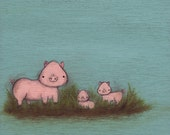 Family of Pigs - kids wall art - turqoise nursery decor, animal art