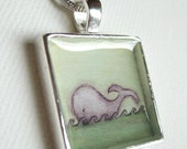 Silver Plated Whale Pendant - blue green whale art necklace