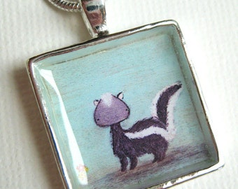 Skunk pendant - silver art necklace, pale blue skunk painting