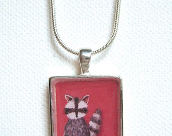 Strawberry Pink Raccoon Pendant - silver art necklace