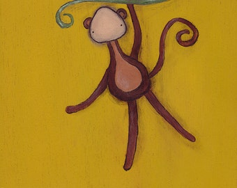 Fernando the Monkey art print - cute animal art, kids room decor