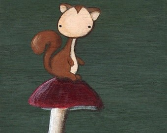 Henry the Squirrel art print - cute squirrel painting on a mushroom, square print