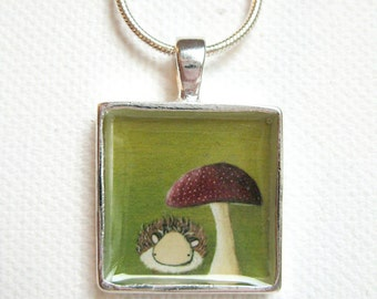 Hedgehog Pendant - green hedgehog art pendant, silver plated necklace