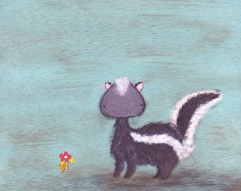Skunk Art Print - pale blue animal art for kids' rooms, nursery art