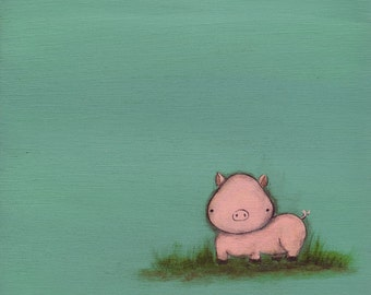 Tiny Pig painting on sea foam green background - 8x8 art print