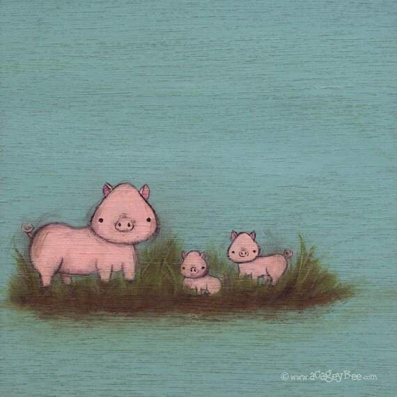 Family of Pigs - kids wall art - turqoise nursery decor, animal art