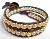 Swarovski Cream Pearl Beaded Leather Wrap Bracelet-2 Wrap