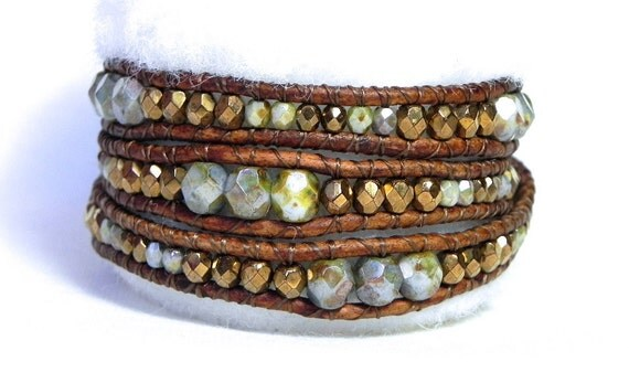 Turquoise- Green and Bronze Beaded Leather Wrap Bracelet-- Chan Luu Style 3 Wrap