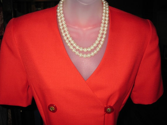Vintage 1980s Red London Look Classic essential sheath dress double breasted petite