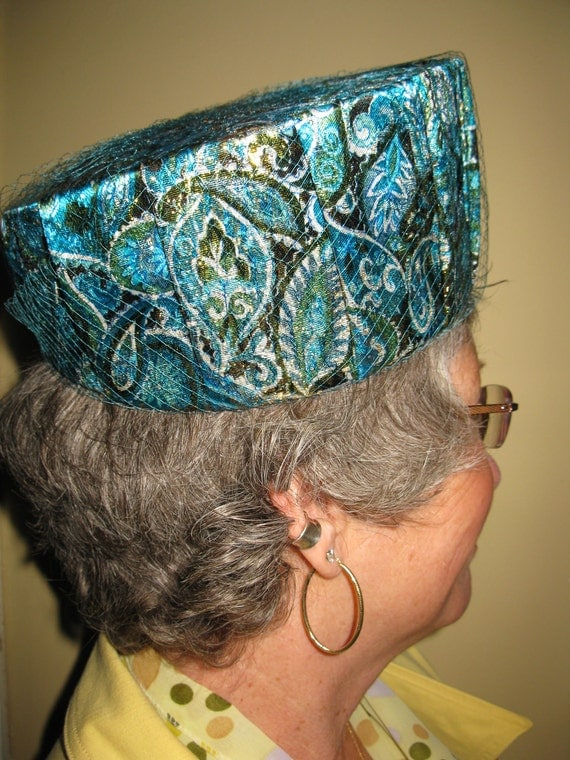 Reserved for Jay  Vintage 1960's Madmen Blue Gold Paisley Pillbox Hat
