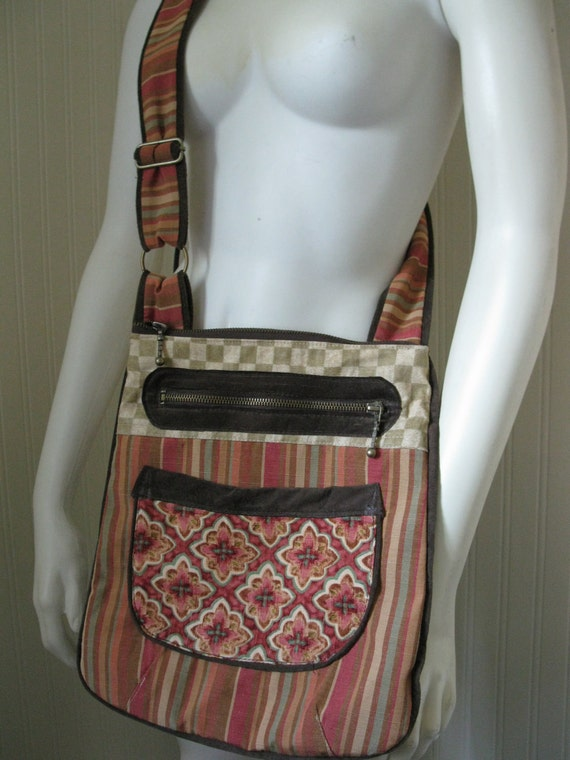 NEW Handcrafted IPad Cross Body Handbag Suede Trim Messenger Upcycled school bag OOAK