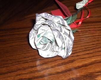 ONE -  U.S. Dollar Rose Money Origami Long Stem Rose