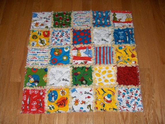 "Dr Seuss Fabric Baby Rag Quilt - Baby-sized 33"" x 33"" Blanket"