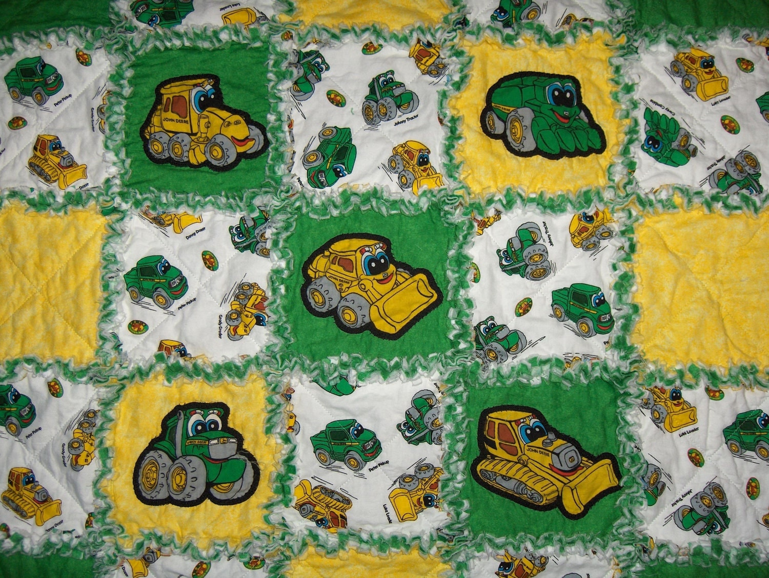 John deere kids fabric rag baby quilt johnny tractor blanket for Childrens quilt fabric