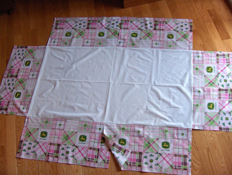 Baby Pink John Deere Fabric Crib Bedding Set Rag Quilt Valance