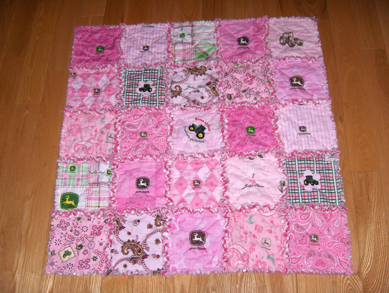 John deere pink 13 different fabrics baby girl rag quilt farm for Baby girl fabric